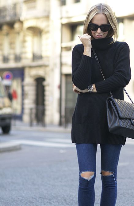 Back to basics in this slouchy black turtleneck tunic. Brooklyn ...