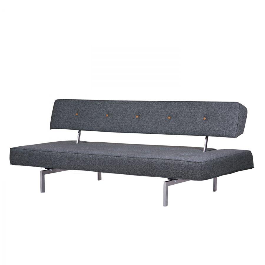schlafsofa bosco button webstoff grau klappbett. Black Bedroom Furniture Sets. Home Design Ideas