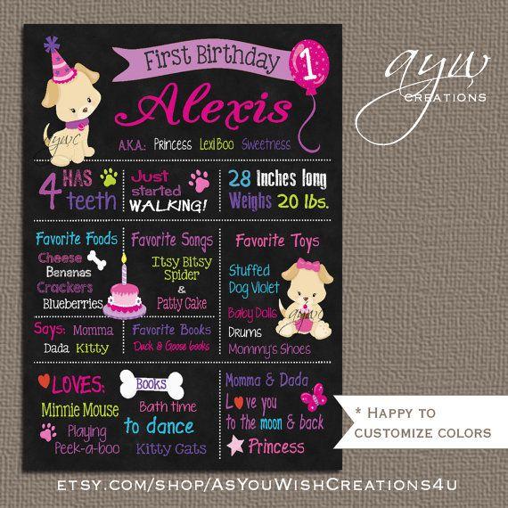 Dog Puppy Chalkboard Poster Girl  Dog by AsYouWishCreations4u
