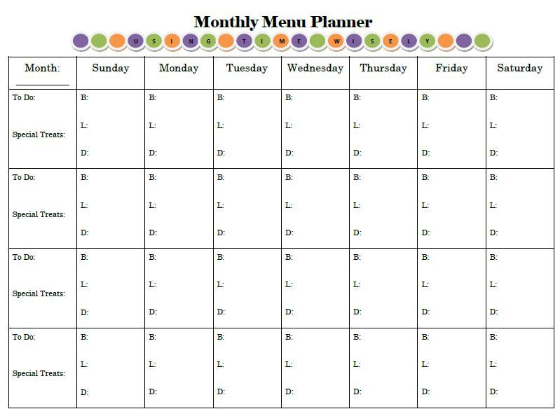 Monthly menu planner like the to do column for Monthly dinner calendar template