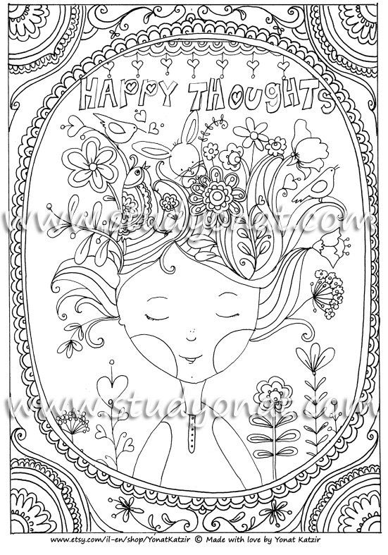 Large Illustrated Poster To Be Coloredhappy Thoughtscoloring Book Coloring Pages
