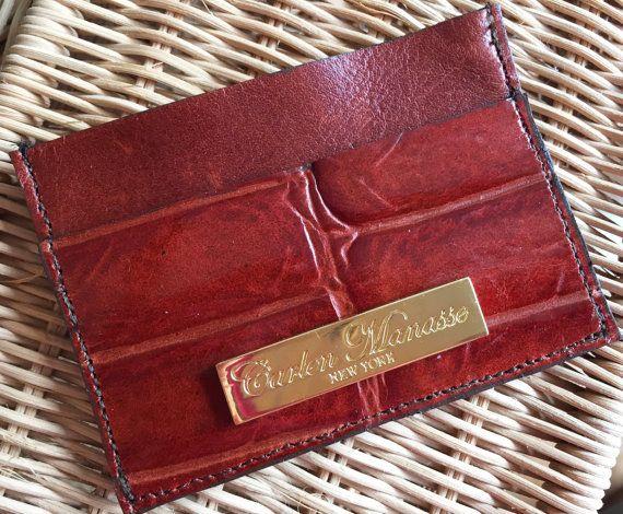 Croco Embossed/Nappa Leather Slim Wallet/Card by CarlenManasseNY