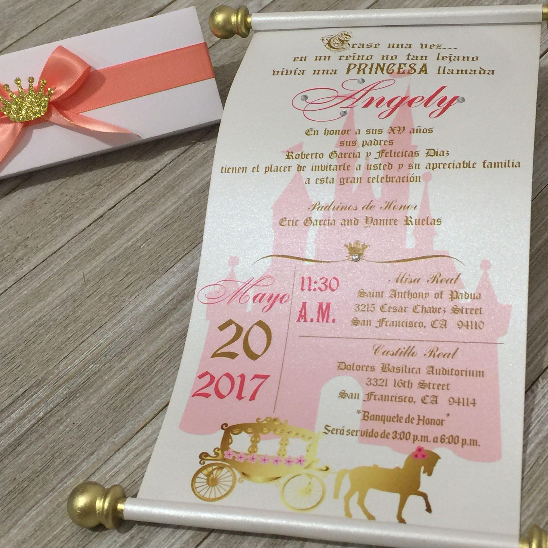 Sweet 16 Spanish Gold Coral Scroll Set Of 10 Wedding Princess Invitations