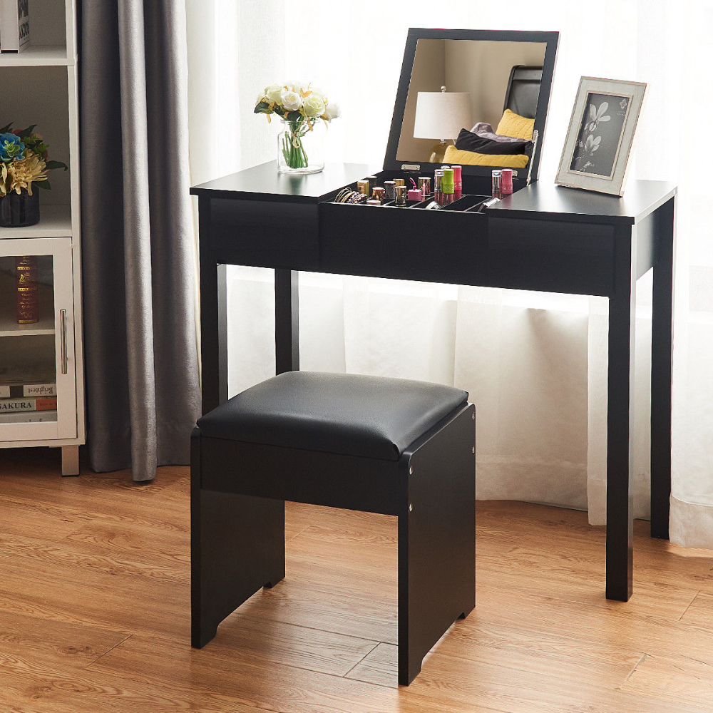 Costway Black Vanity Dressing Table Set Mirrored W/ Stool