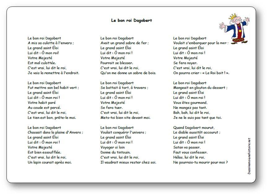 Chanson Le bon roi Dagobert - Paroles illustrées