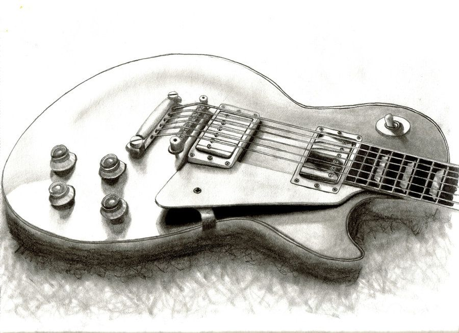 Contour Line Drawing Guitar : Deviantart more like punk huge pencil drawing by louisa