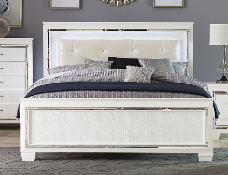 Homelegance White Allura Glowing California King Bed 1916kw 1ck Savvy Discount Furniture White Queen Bed Bed Bedroom Sets Queen