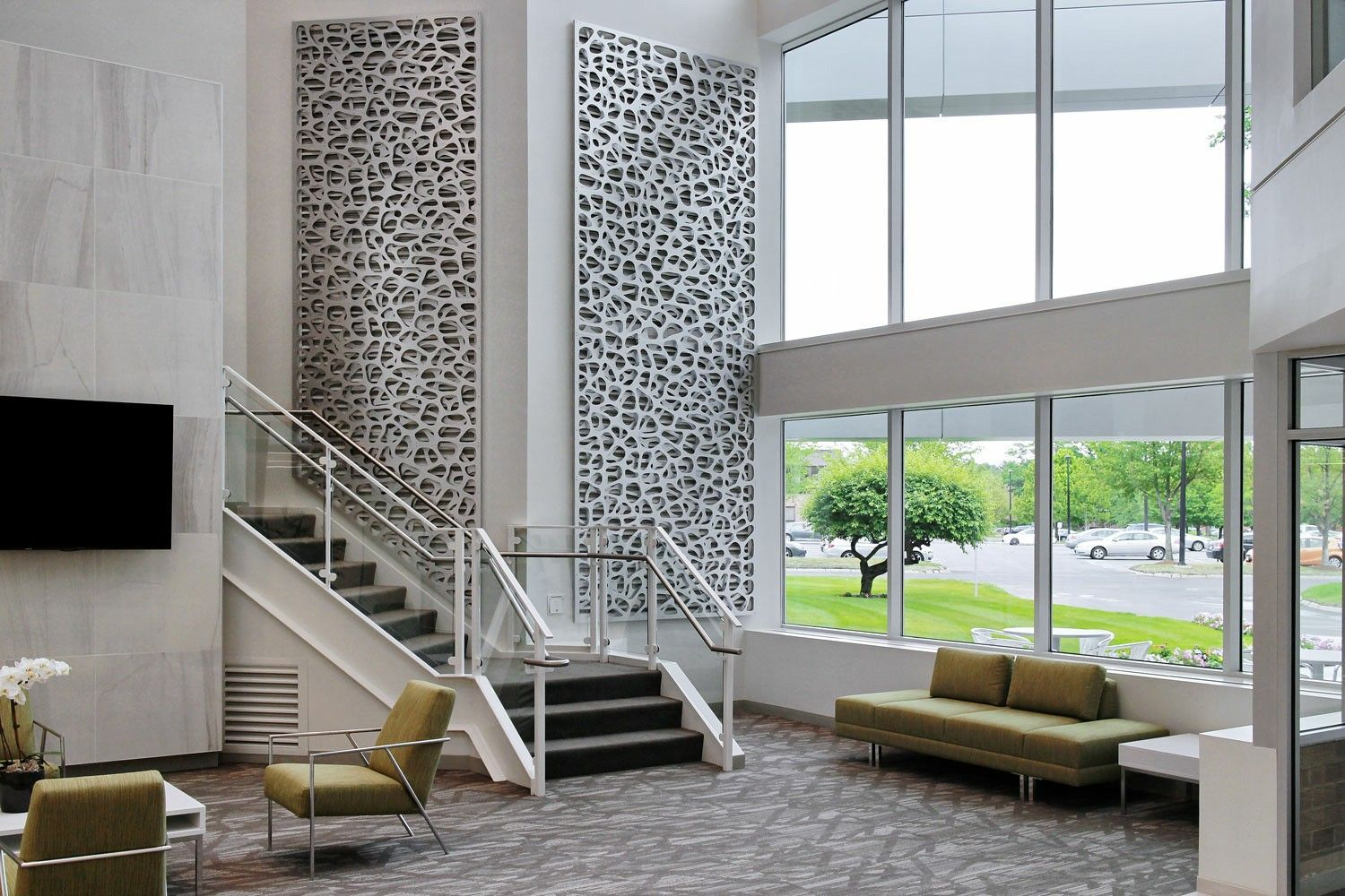 Lobby feature walls decorative screen vent covers