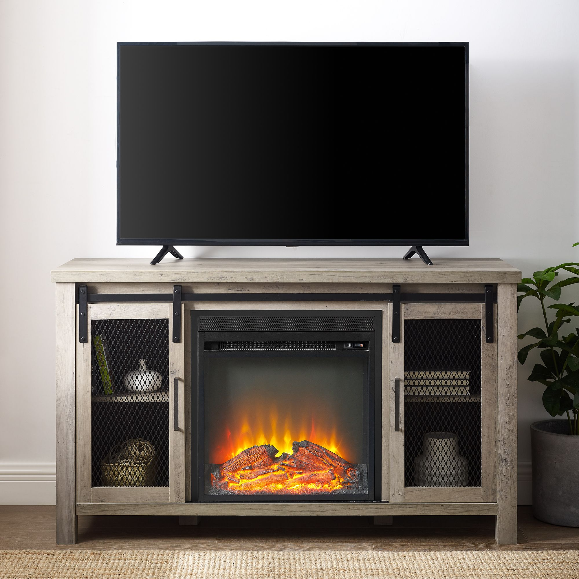 Manor Park Rustic Farmhouse Fireplace Tv Stand With Sliding Doors For Tv S Up To 52 Grey Wash Walmart Com Fireplace Tv Stand Rustic Farmhouse Fireplace Farmhouse Fireplace