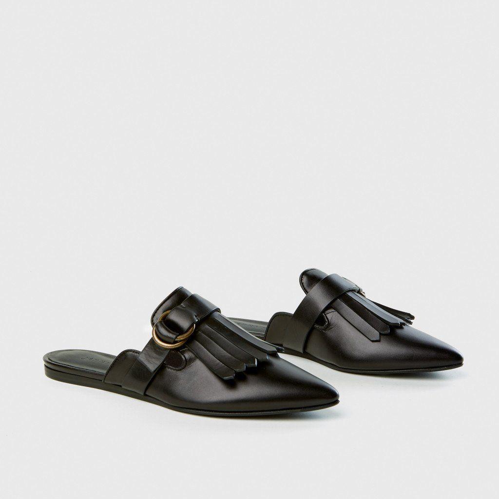 Buckle Fringe Mule - Black Leather