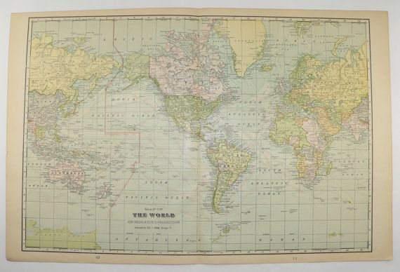 Vintage Map of the World 1902 Antique World Map Western Hemisphere - new antique world map images