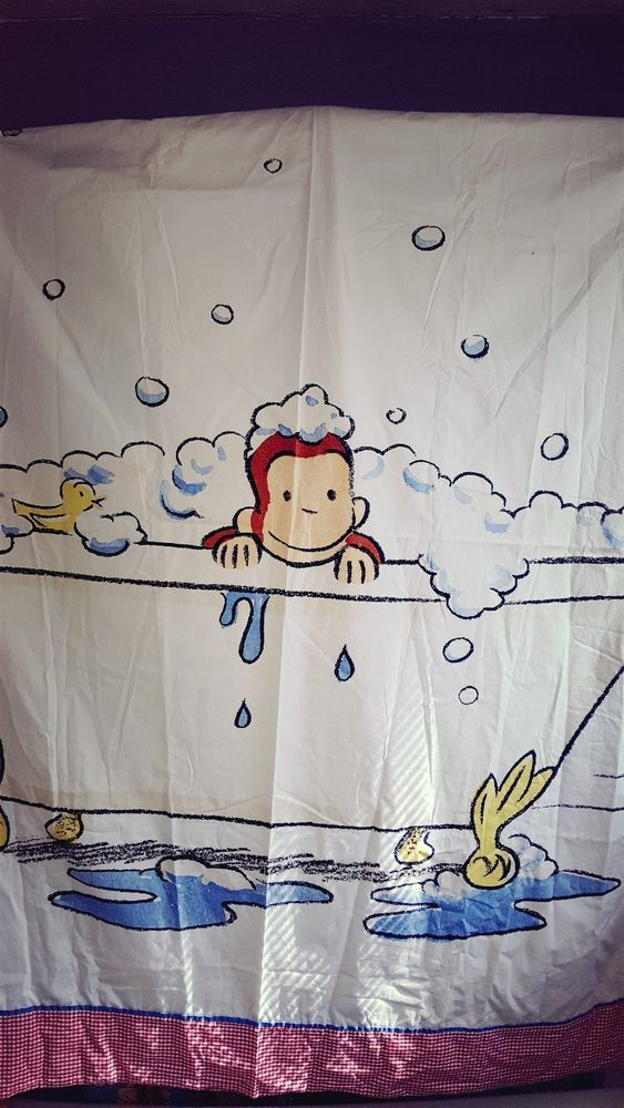 NEW Pottery Barn Kids Curious George Bath Shower Curtain Monkey In Tub PotteryBarn Novelty