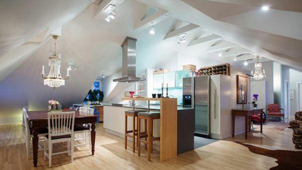 wohnk che dachgeschoss optisch bereich aufteilung dachausbau pinterest dachschr ge. Black Bedroom Furniture Sets. Home Design Ideas