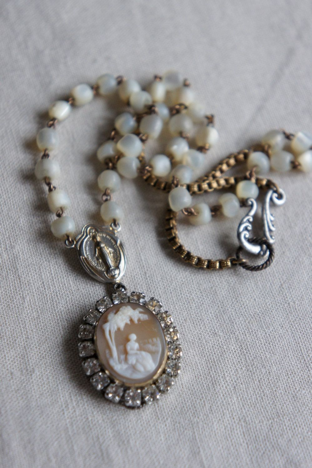 Vintage assemblage necklace old cameo rhinestones rosary chain assemblage jewelry - Simple Elegance by French Feather Designs..via Etsy.