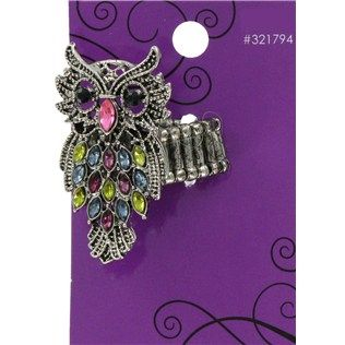 "This gemstone accented Multi Stone Owl Ring will be a classic that you'll never stop wearing. Stretch rings are great for gifts because they eliminate the need to wonder about sizing, are so comfortable for people whose fingers swell during the day or evening and are always easy to put on or remove.    	     	Dimensions:    	  		Owl Length: 1 5/8""  	  		Owl Width: 1""      	     	One size fits most."