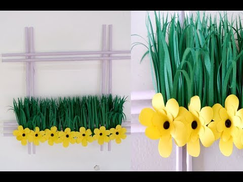 64 Diy Mini Garden Paper Flower And Grass Wall Decoration Idea Youtube Construction Paper Flowers Paper Flowers Paper Flowers Diy