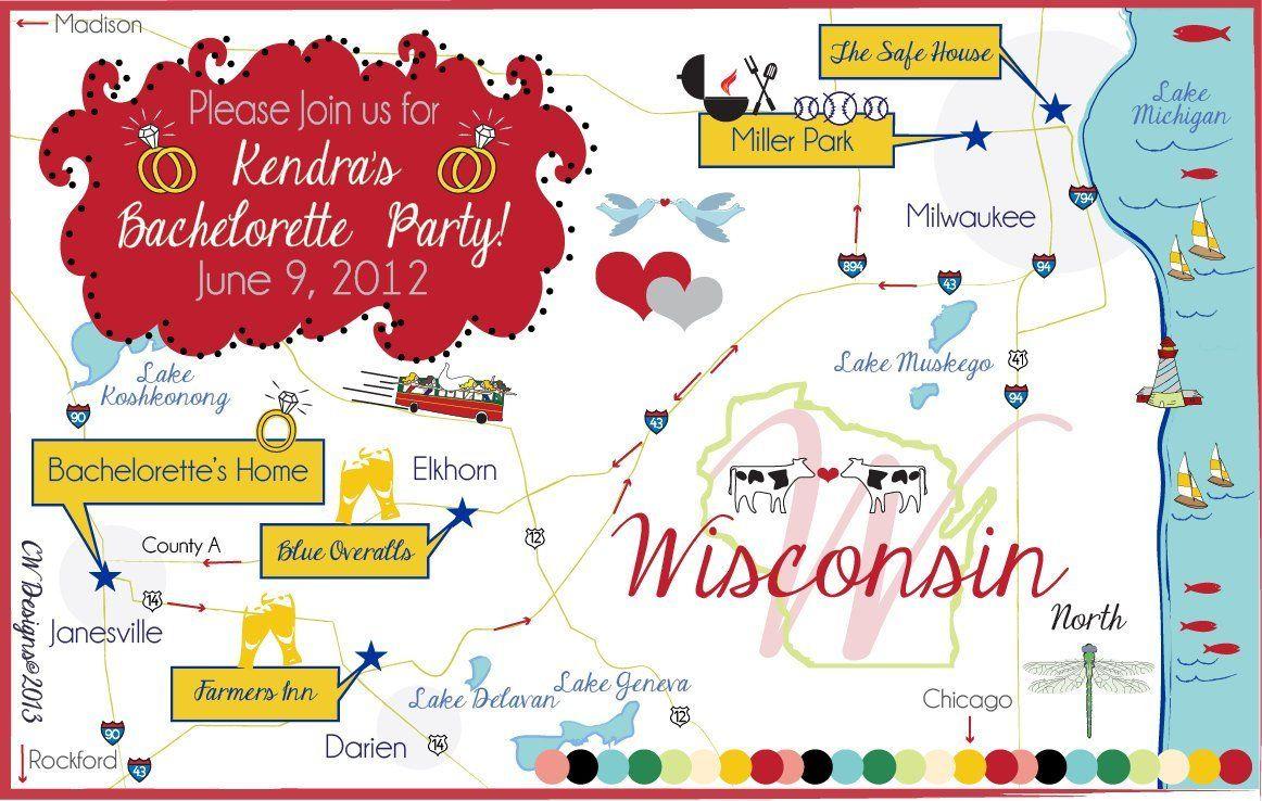 Bachelorette Weekend Map, Custom Wedding Map, Wedding Map Invitation ...