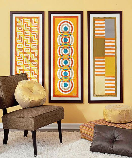 DIY Interior Design with a Small Budget - Art scarves on the wall ...