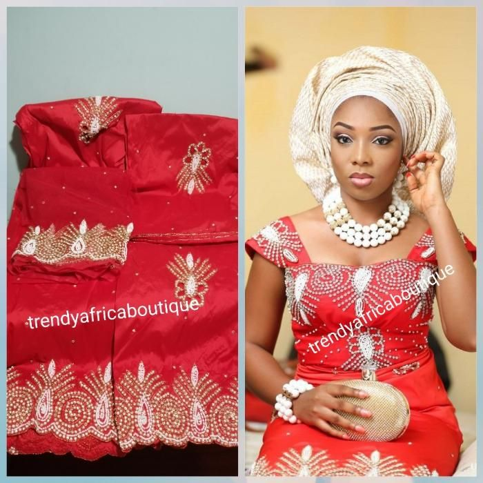 7ce3db81ac82f3 Sale sale; Nigerian Traditional George wrapper. Hand Beaded/stones design  in red/red 1.8 matching net blouse. Igbo/delta bride outfit. Small-George.