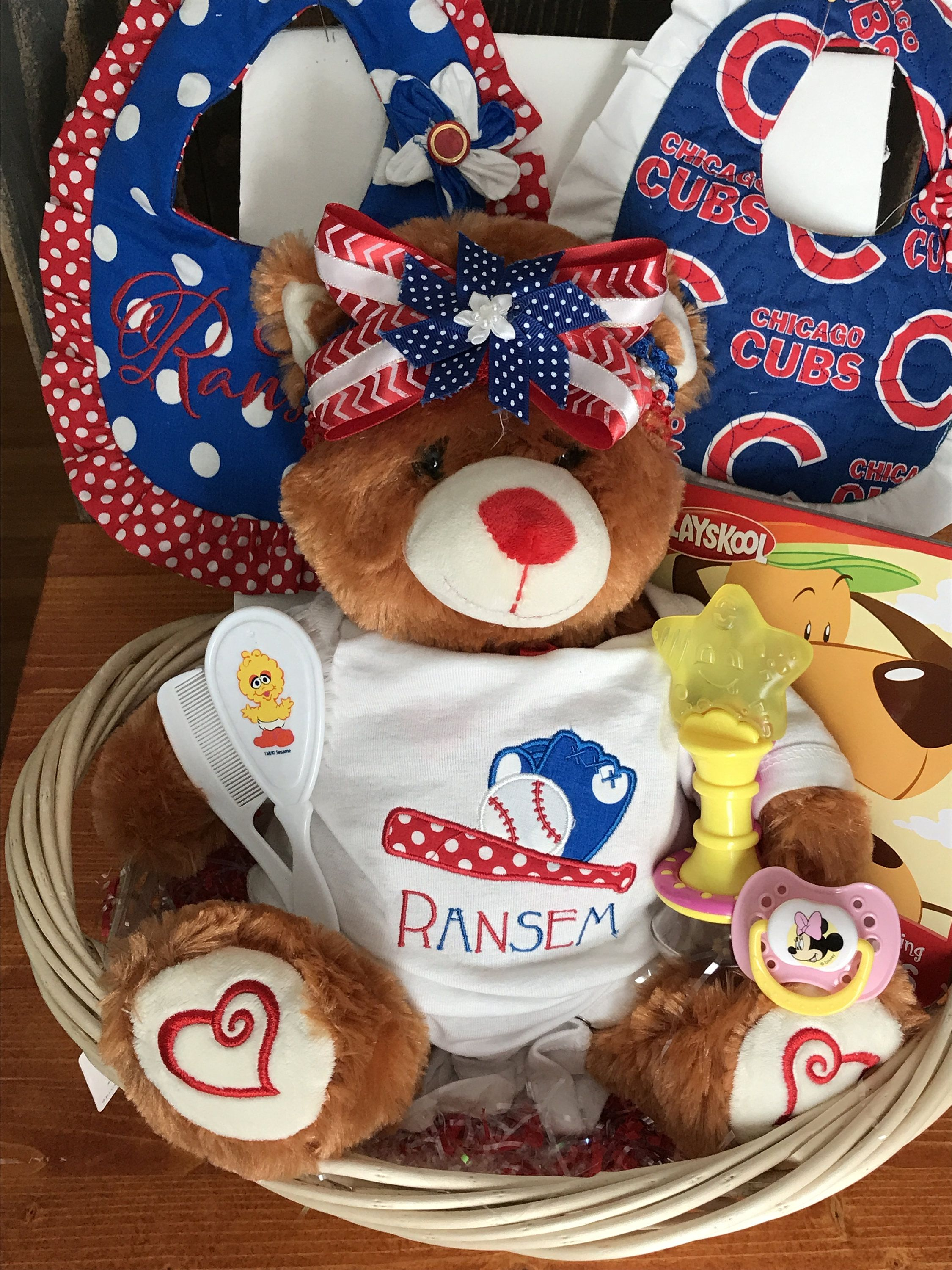 Chicago cubs baby ensemble personalized baby gift basket chicago cubs baby ensemble personalized baby gift basket monogrammed sports team outfit custom negle Gallery