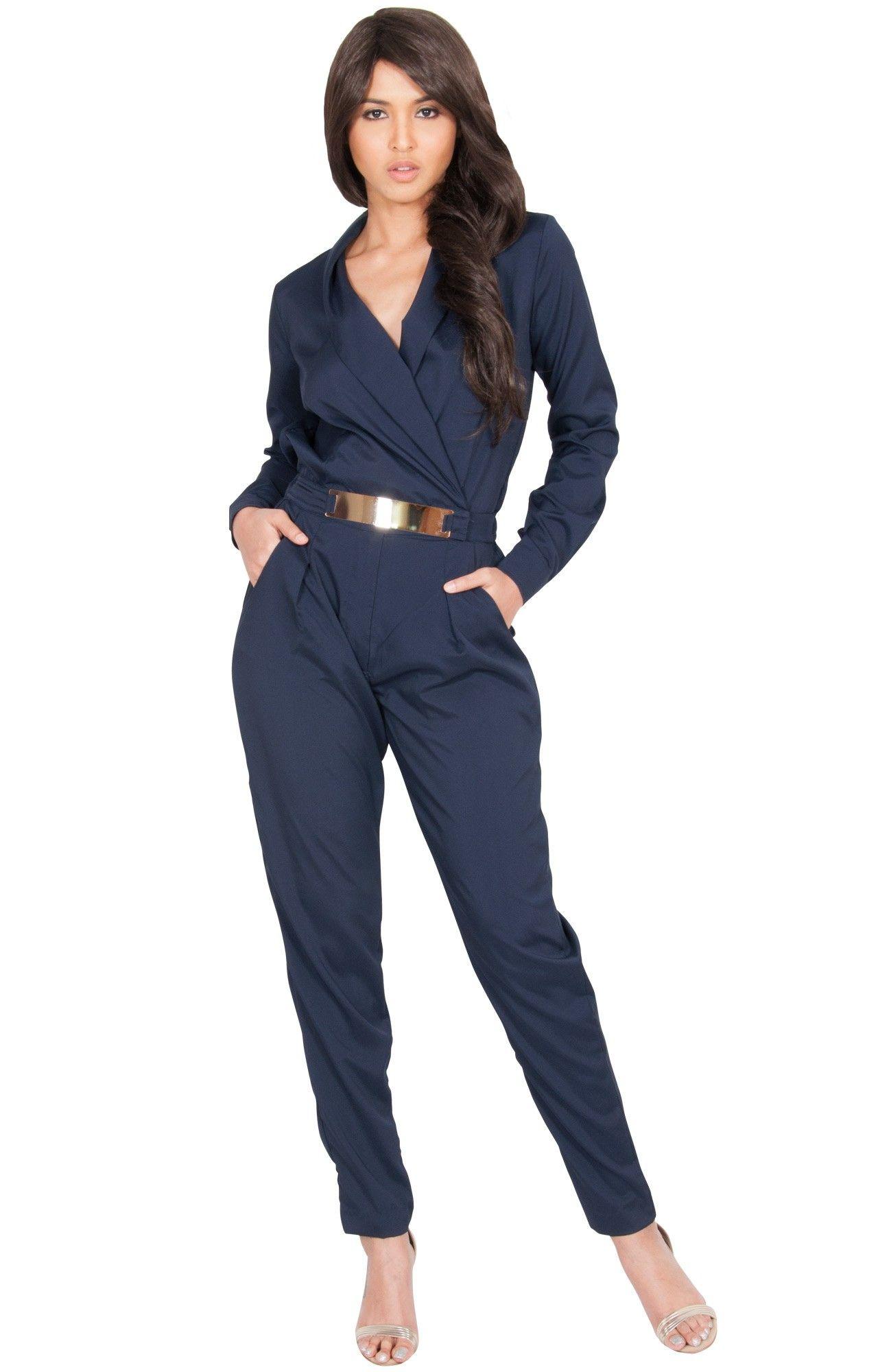 735e0ae336b9 ROSLIN - Long Sleeve Metallic Belt Chic Jumpsuit