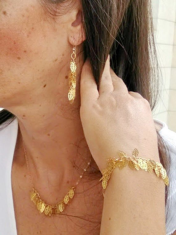 Photo of Necklace Bracelet and Earring Set, Leaf Jewelry Set, Gold Leaves Jewelry, Dainty…