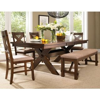 6 Piece Solid Wood Dining Set With Table 4 Chairs And Bench