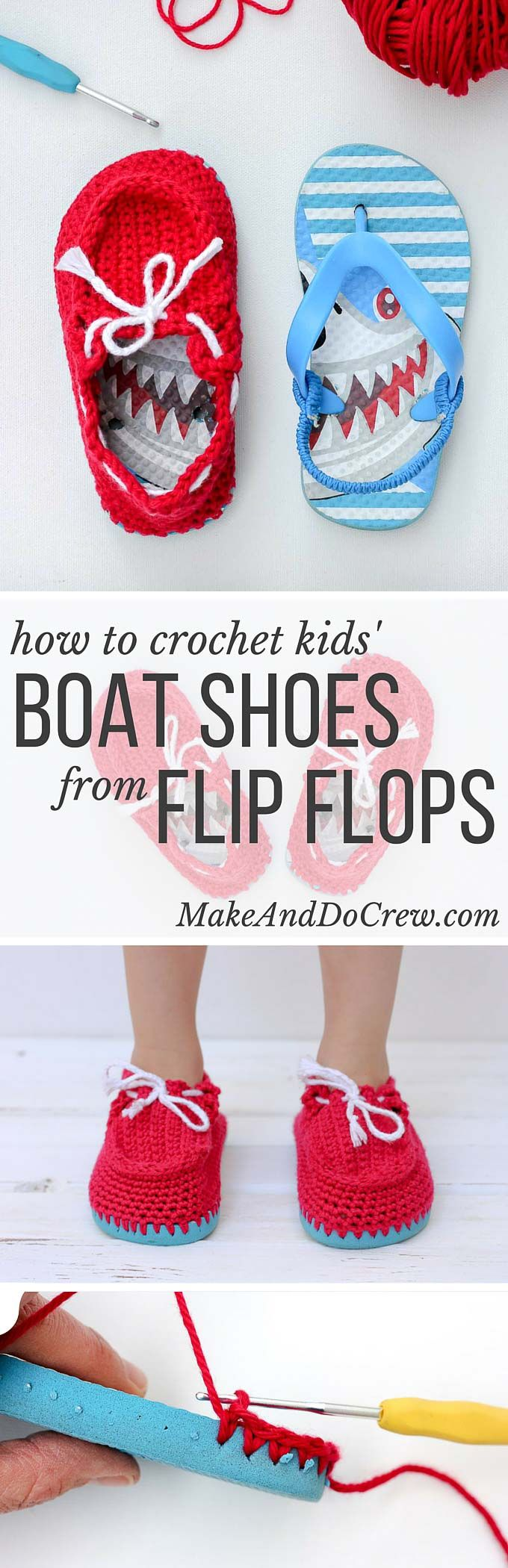 """Crochet toddler """"boat shoe"""" slippers with flip flop soles – free ..."""