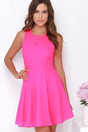 Hot Pink Dress - Skater Dress - Fit-and-Flare Dress -  48.00 2e41d9e84