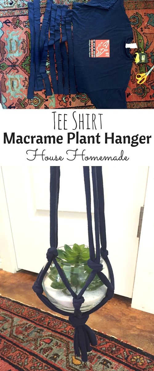 Easy Tee Shirt Macrame Plant Hanger is part of Diy macrame plant hanger, Macrame plant hanger, Diy plant hanger, Macrame plant hangers, Plant hanger, Hanger diy - Need to add a little life to the corner of a room  Make this quick and easy macrame succulent hanger using a thrift store tshirt! macrame planthanger