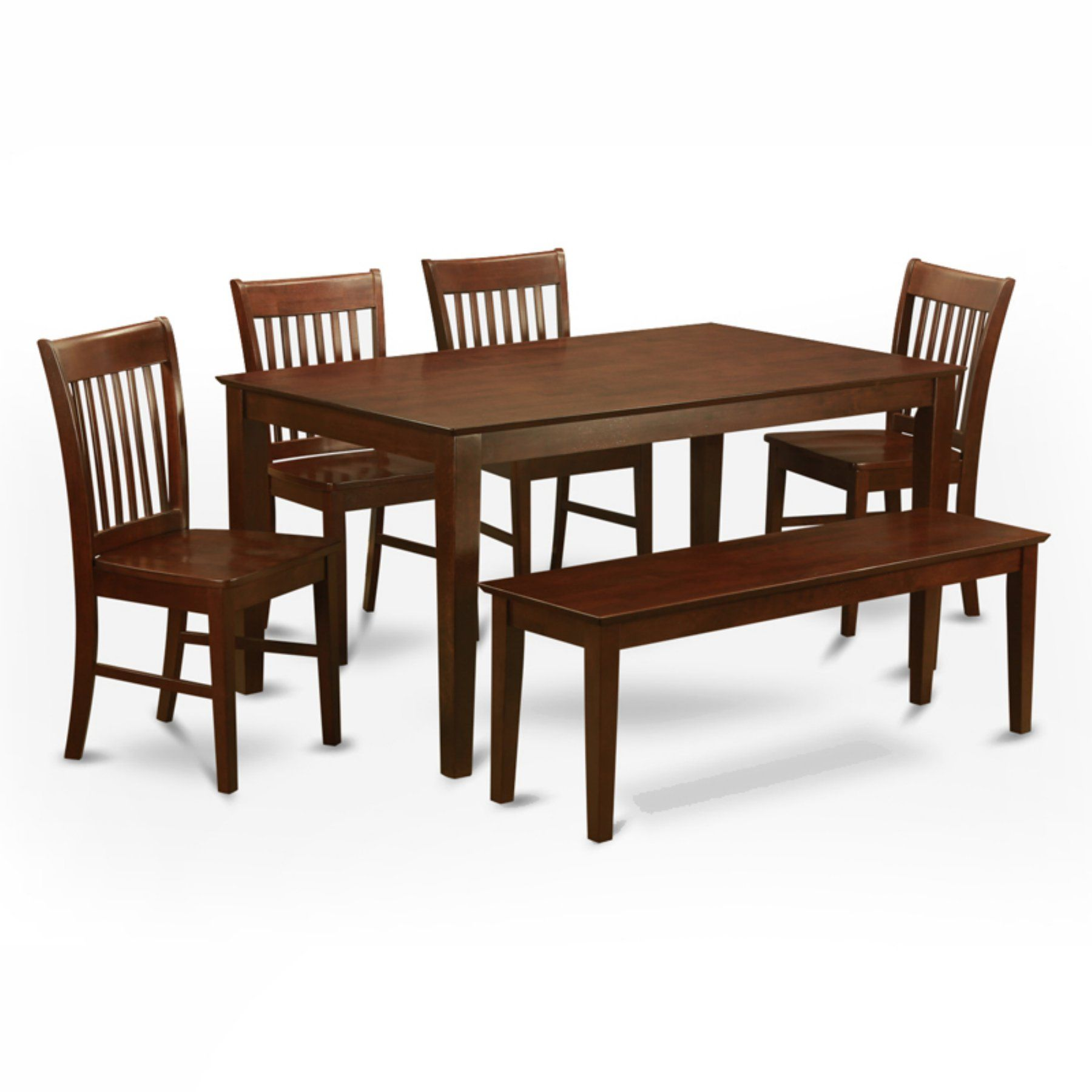 East West Furniture Capris 6 Piece Rectangular Dining Table Set Best Wooden Bench For Dining Room Table Decorating Inspiration