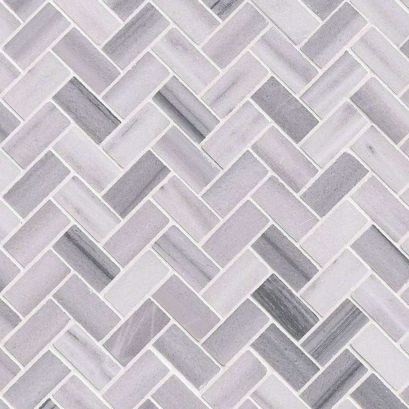 Photo of Bergamo Herringbone Polished Backsplash Tile – Sample