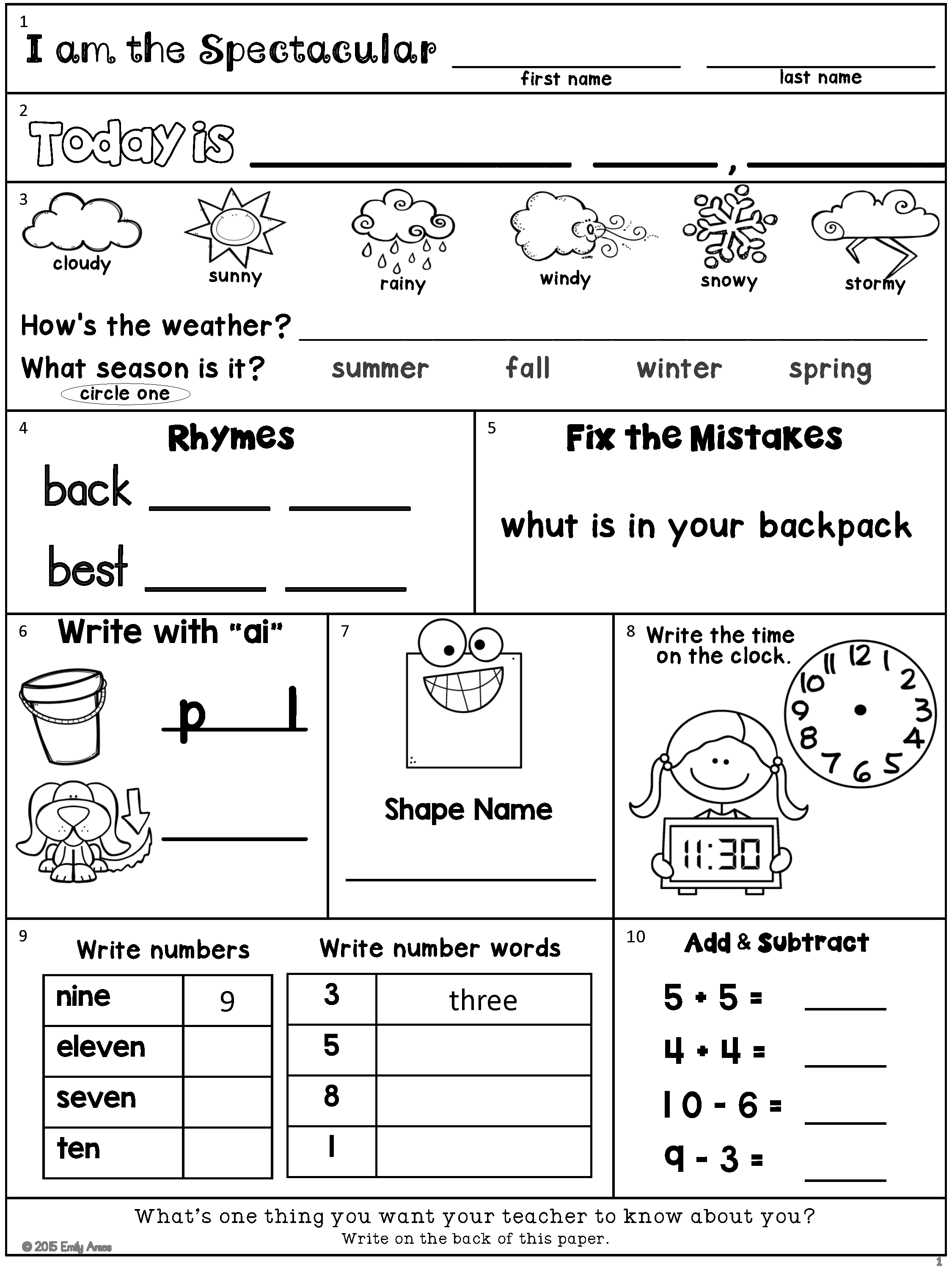 Morning Work Freebie Second Grade August Packet