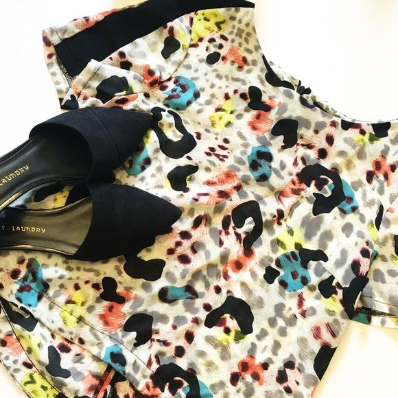 Topshop Colorful Leopard Crop Top So cute and perfect for summertime! Excellent pre worn condition. Slightly cropped fit. No trades!! 0530163500gwb Topshop Tops Blouses