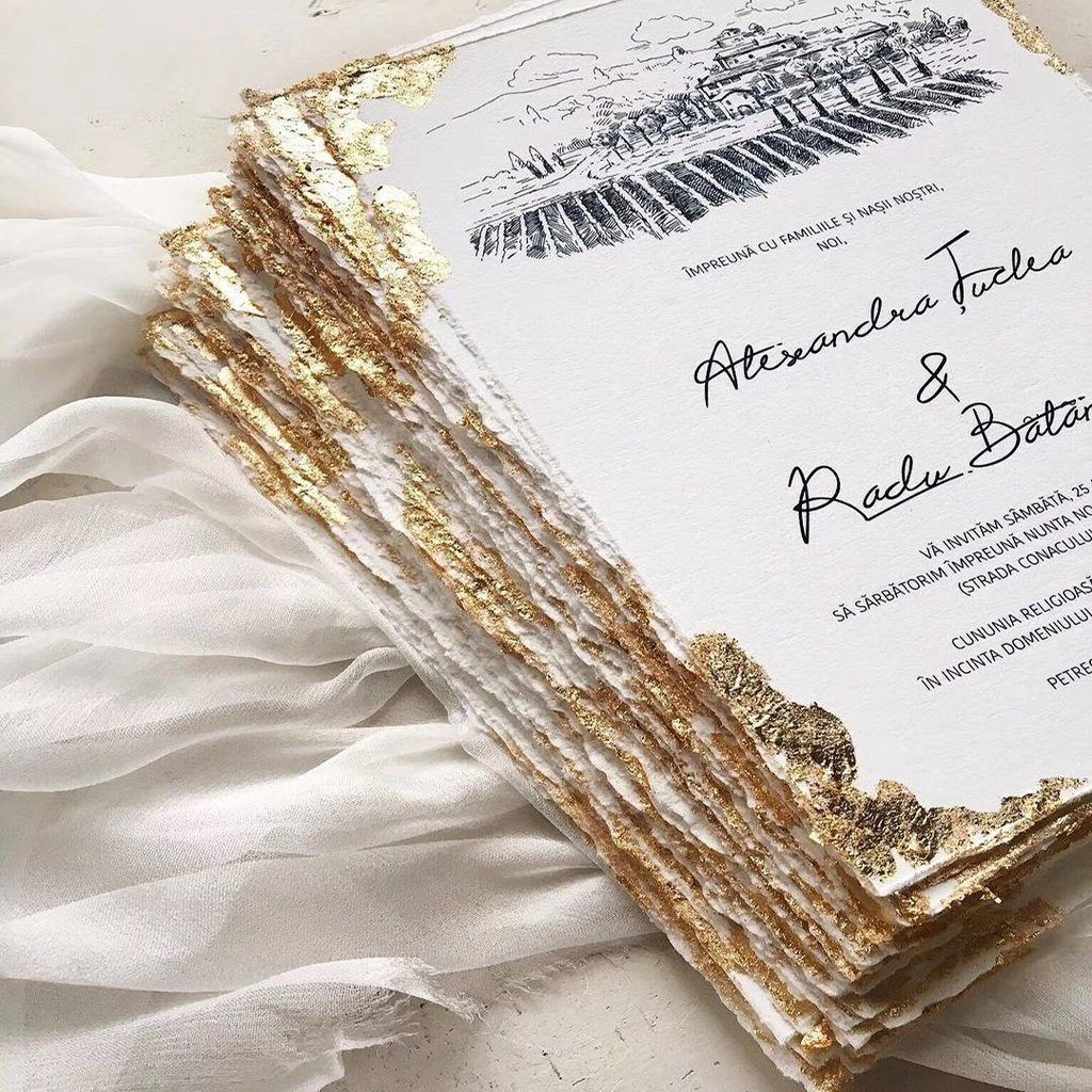 Custom Gold Deckled Edge Wedding Invitations Handmade Torn Edge Luxury Invites In 2021 Foil Wedding Invitations Gold Wedding Invitations Gold Foil Wedding Invitations