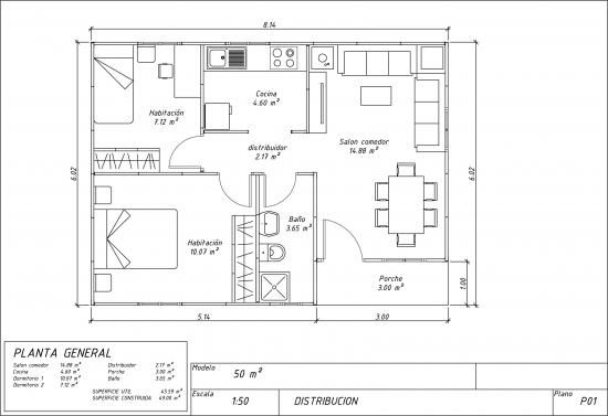 Casa prefabricada paneles 50m2 de la categoria casas for Distribucion apartamento 50 m2