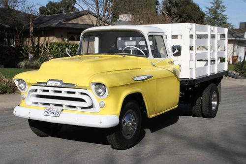 1957 Chevrolet 3800 Series 1 Ton Dually Stake Side Flatbed Truck Chevrolet Trucks Classic Trucks 57 Chevy Trucks