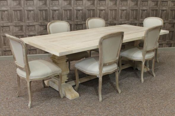 Limed Oak Dining Table With A Tuscan Pedestal Base Large Oak Table Oak Dining Table Kitchen Table Oak Oak Dining Chairs