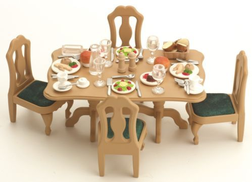 Hotel Dining Room Set Sylvanian Families Table And Chairs Furniture 4521 Ebay Family Dining Rooms Cheap Dining Room Sets Family Dining