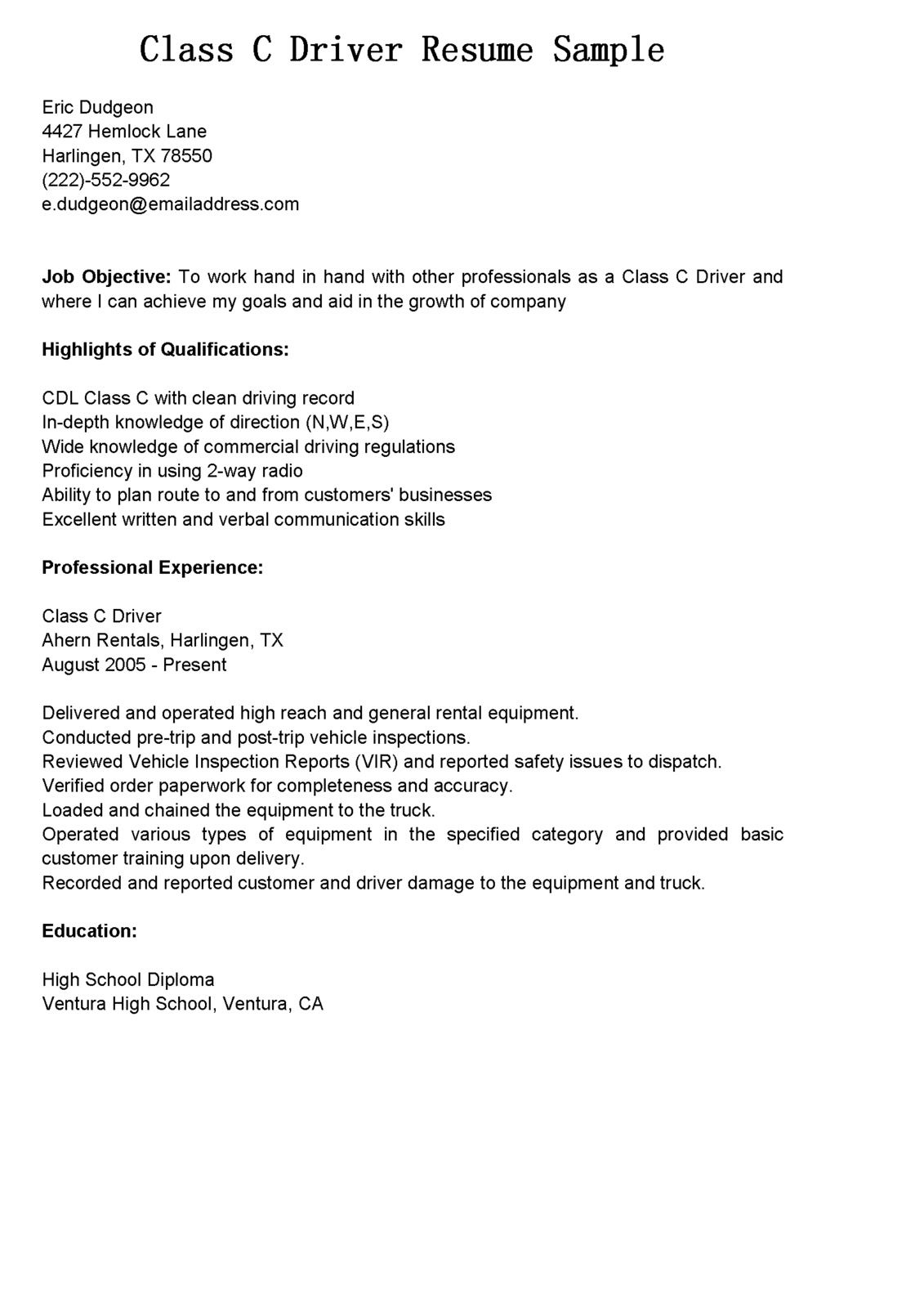 Driver resume gain the serious bus resumes class application letter driver resume gain the serious bus resumes class application letter for mechanic how write spiritdancerdesigns Images