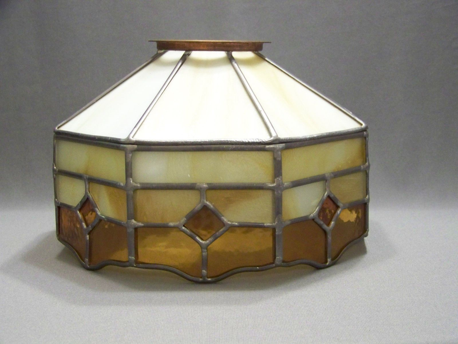 Tiffany style stain glass lamp shade for ceiling fan cream and tiffany style stain glass lamp shade for ceiling fan cream and amber panels mozeypictures Image collections
