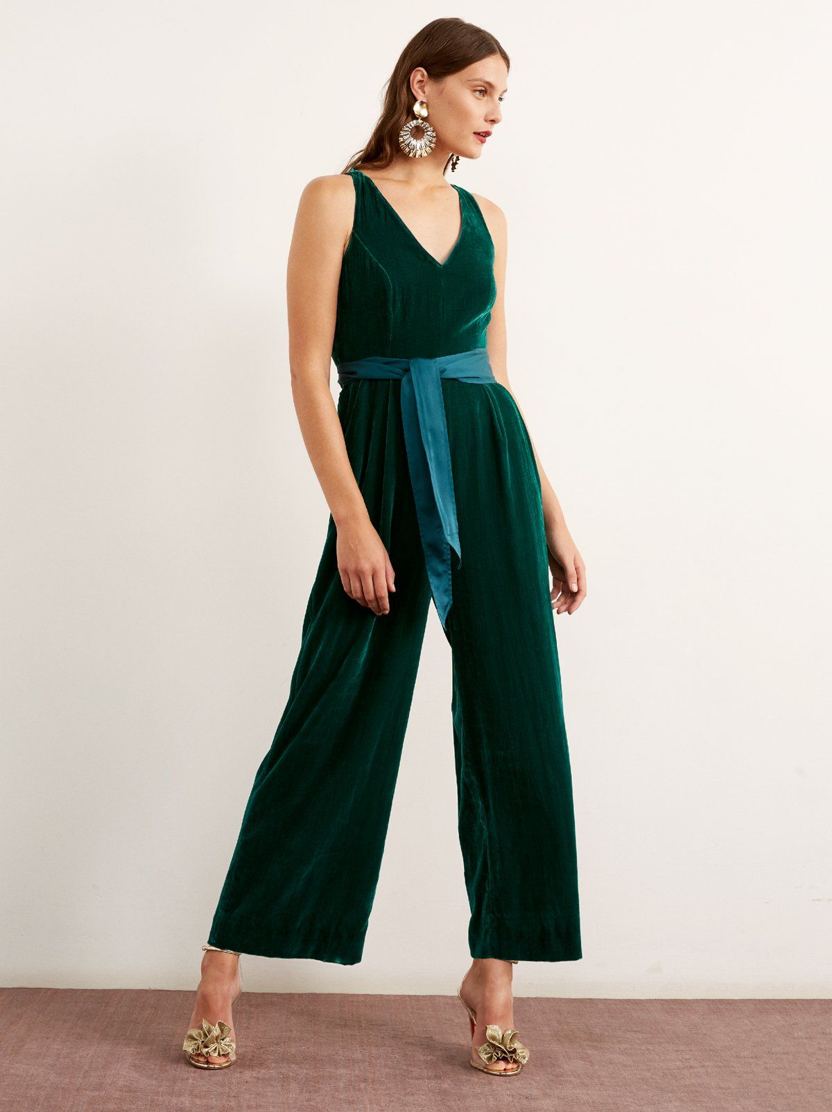 aa3dfb2372b Prunella Green Velvet Wide Leg Jumpsuit by KITRI Studio