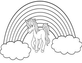 Ausmalbild Regenbogen Mit Jungem Einhorn Einhorn Zum Ausmalen Ausmalbilder Ausmalen