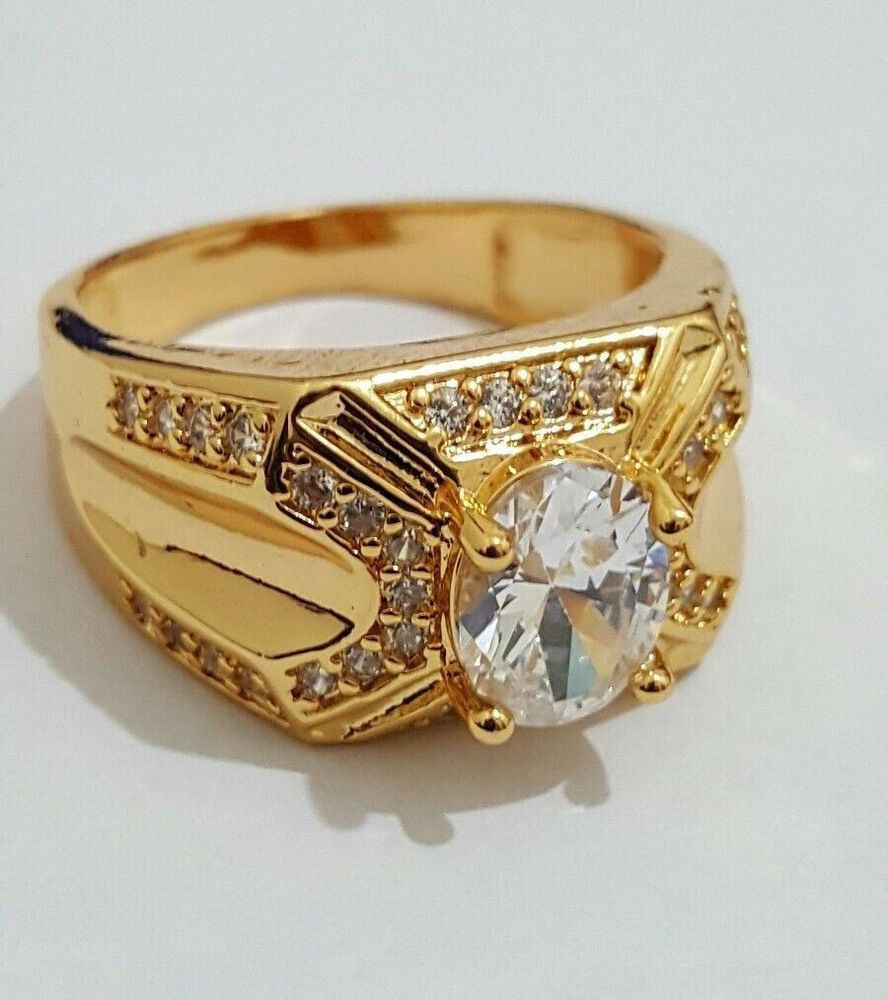 14K Yellow Gold Over 1.10 CT Mens Diamond Pinky Engagement