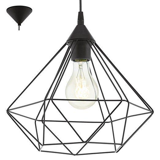 Eglo Lampe Suspension E27 O325 Tarbes Noir Mat Beleuchtung Decke Deckenlampe Hangeleuchte