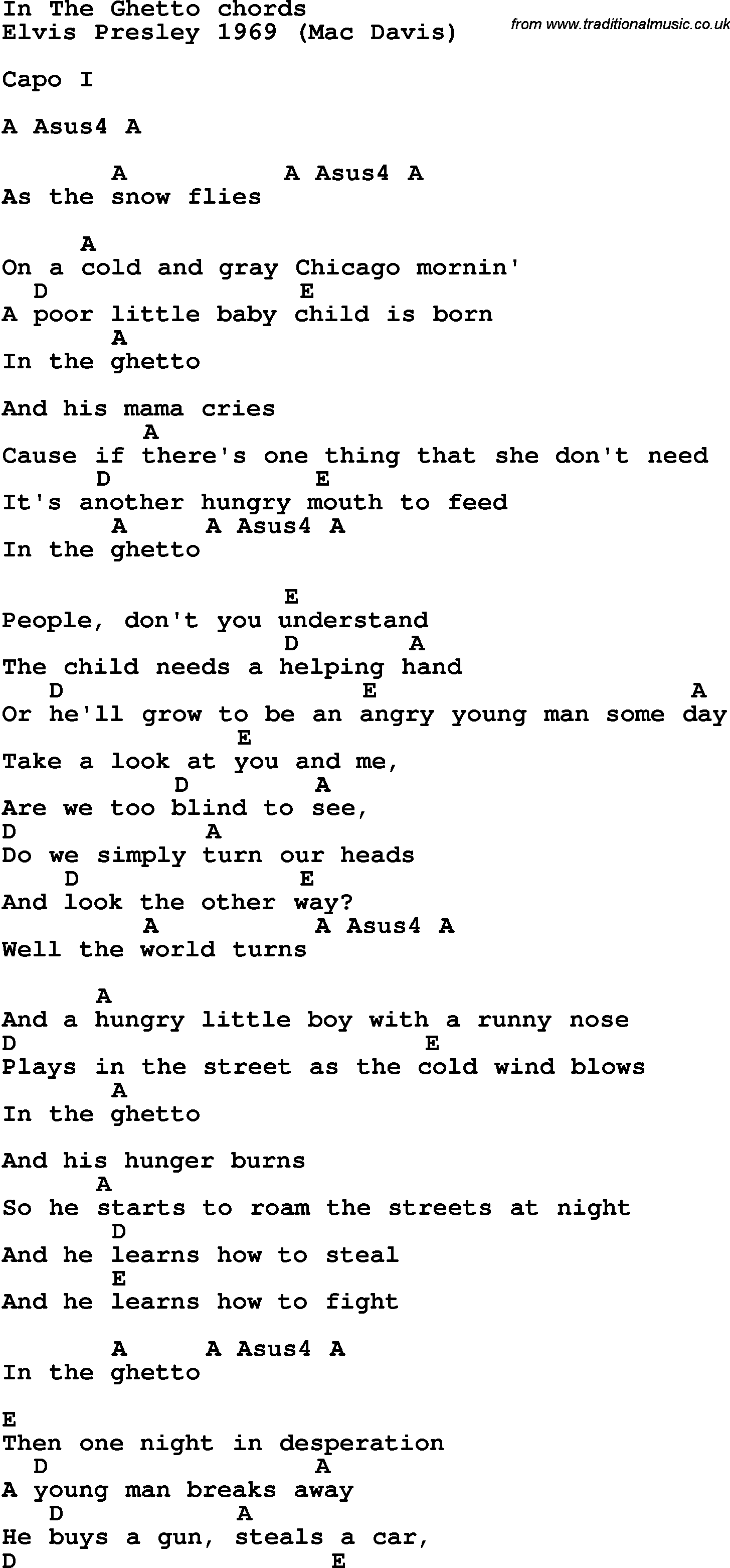 Song Lyrics With Guitar Chords For In The Ghetto Tips For Ukulele
