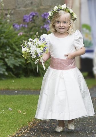 46f5368aa43 Flower Girl in Ivory Dress and Pink Sash - Amelia Brennan