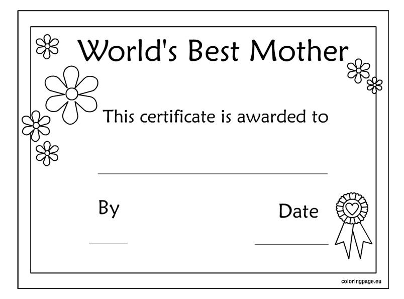 Worlds Best Mom Certificate Mother S Day Printable With Images
