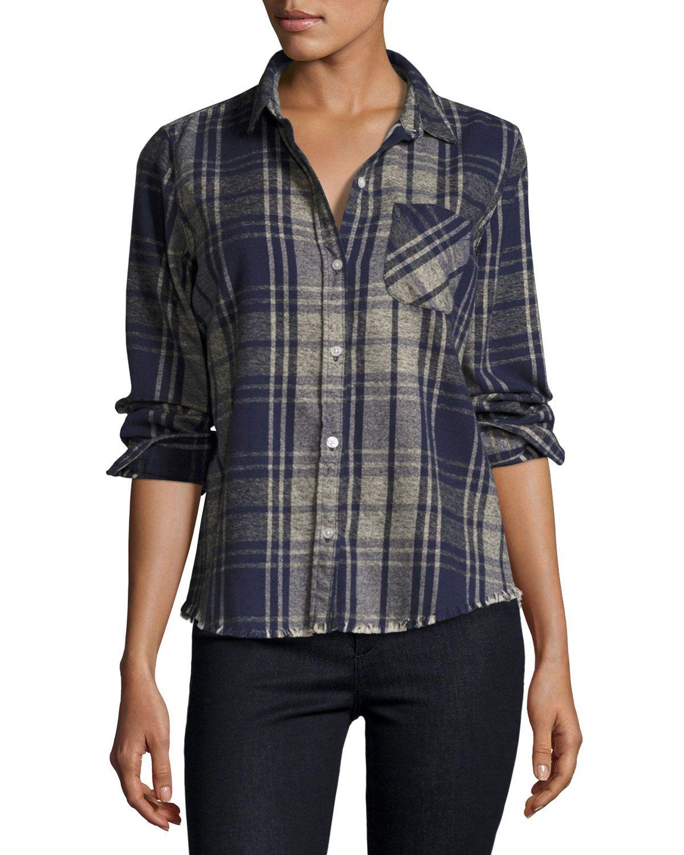 The Slim Boy Shirt with Frayed Hem, Vista Plaid