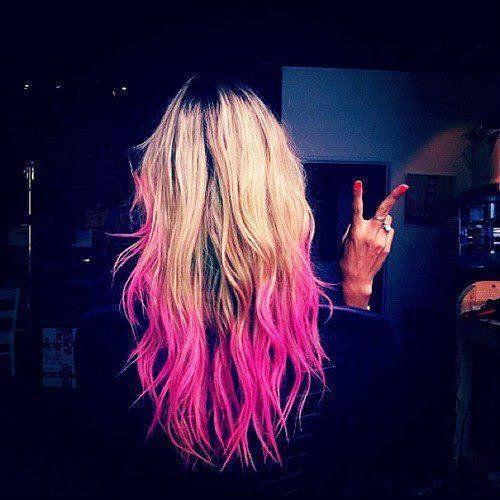 Blonde Hot Pink Dip Dyed Hair Pink Ombre Hair Pink Hair Dye